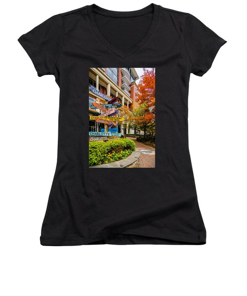 Charlotte City Skyline Autumn Season Women's V-Neck T-Shirt