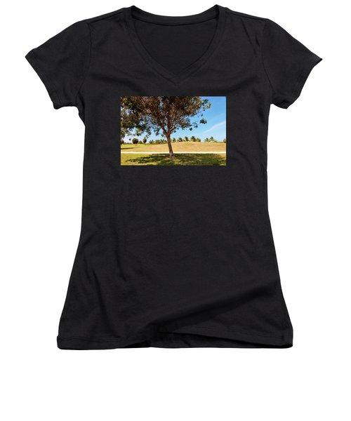 Women's V-Neck T-Shirt (Junior Cut) featuring the photograph 96 Degrees In Da Shade by Amar Sheow