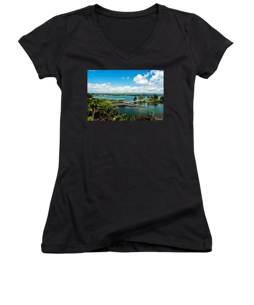 A Beautiful Day Over Hilo Bay Women's V-Neck T-Shirt (Junior Cut) by Christopher Holmes