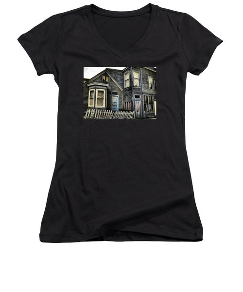 A Bygone Era Women's V-Neck T-Shirt (Junior Cut) by Ellen Heaverlo