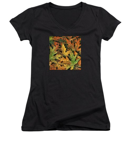 Women's V-Neck T-Shirt (Junior Cut) featuring the painting A Carpet Of  Falling Leaves by Dragica  Micki Fortuna