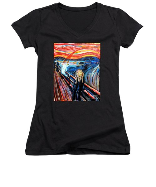 A Cat For Edvard Munch_ Annie Passing Through Women's V-Neck (Athletic Fit)