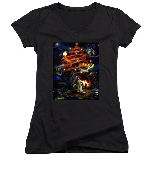 A Christmas Carol Women's V-Neck T-Shirt (Junior Cut) by Alessandro Della Pietra