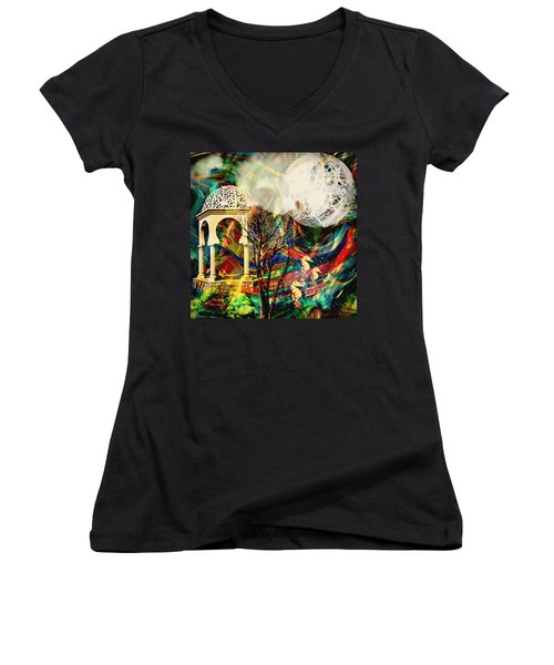 Women's V-Neck T-Shirt (Junior Cut) featuring the mixed media A Day In The Park by Ally  White