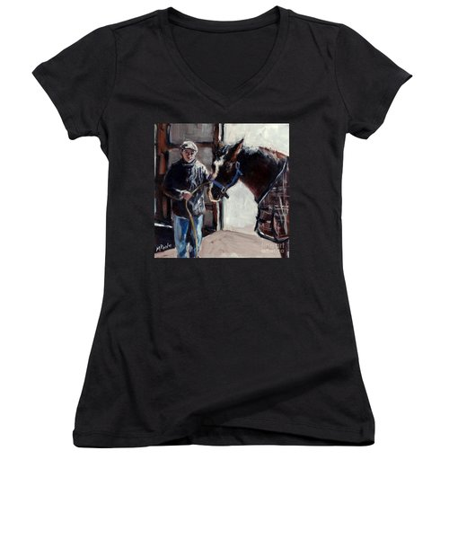 Women's V-Neck T-Shirt (Junior Cut) featuring the painting A Derby Day Of Sorts by Molly Poole