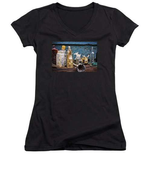 Women's V-Neck T-Shirt (Junior Cut) featuring the photograph Treasures Of A Scuba Diver by Peggy Collins