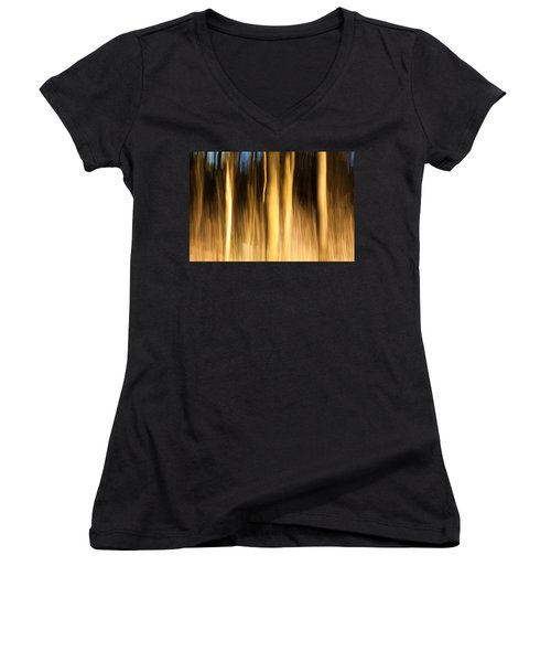 Women's V-Neck T-Shirt (Junior Cut) featuring the photograph A Fiery Forest by Davorin Mance