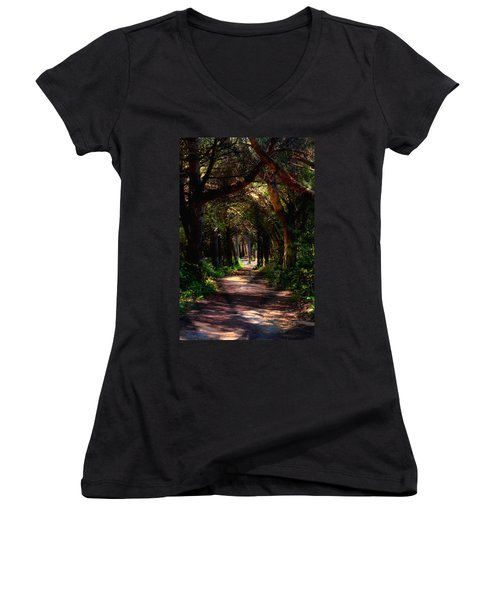A Forest Path -dungeness Spit - Sequim Washington Women's V-Neck (Athletic Fit)