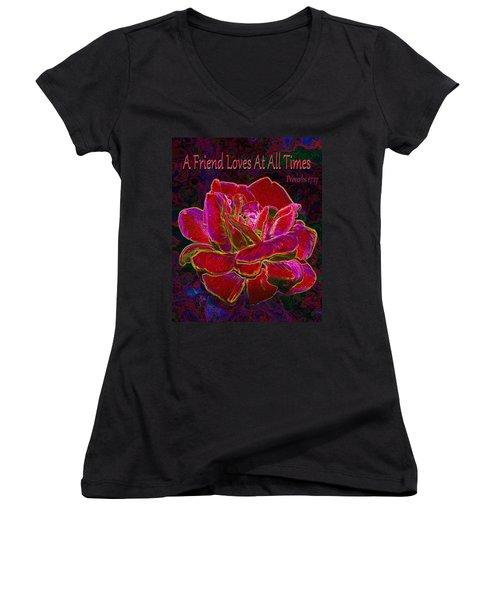 A Friend Loves At All Times Women's V-Neck T-Shirt (Junior Cut) by Michele Avanti