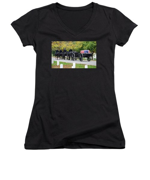 Women's V-Neck T-Shirt (Junior Cut) featuring the photograph A Funeral In Arlington by Cora Wandel