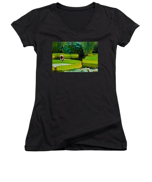 A Garden In Gentle Waters Women's V-Neck (Athletic Fit)