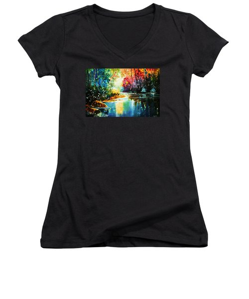 A Glow In The Forest Women's V-Neck (Athletic Fit)