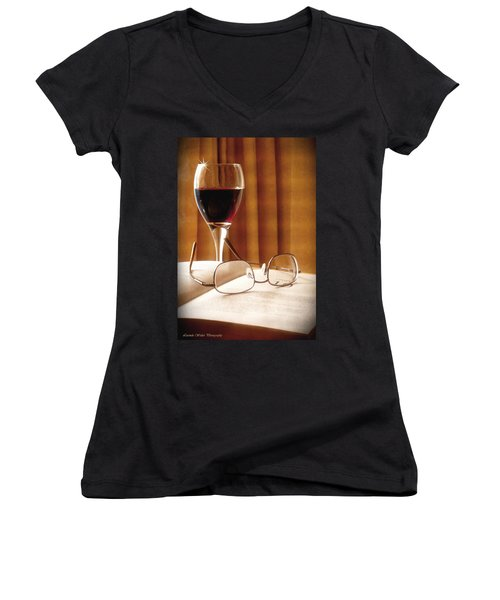 A Good Book And A Glass Of Wine Women's V-Neck