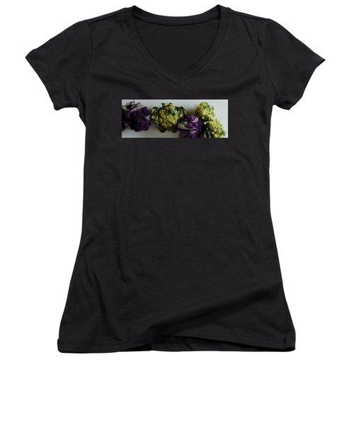 A Group Of Cauliflower Heads Women's V-Neck T-Shirt (Junior Cut) by Romulo Yanes