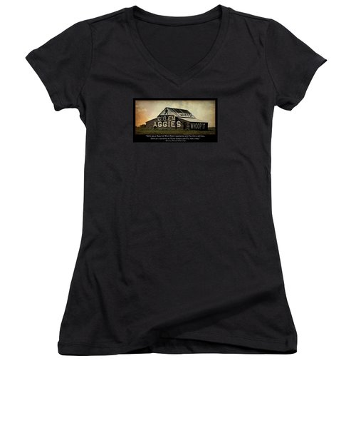 A Handful Of Aggies Women's V-Neck T-Shirt (Junior Cut) by Stephen Stookey