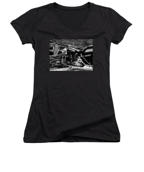 A Harley Davidson And The Virgin Mary Women's V-Neck T-Shirt (Junior Cut) by Andy Prendy