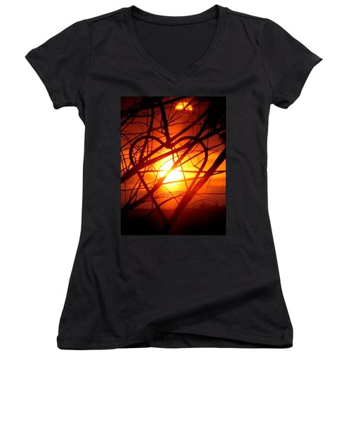 A Heart Filled With Light Women's V-Neck T-Shirt (Junior Cut) by Renee Michelle Wenker