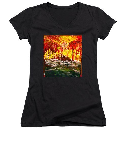 A Hot Summer Day.- Sold Women's V-Neck T-Shirt (Junior Cut) by George Riney