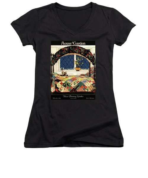 A House And Garden Cover Of A Four-poster Bed Women's V-Neck