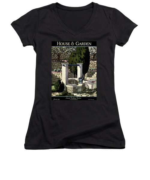 A House And Garden Cover Of A Well Women's V-Neck