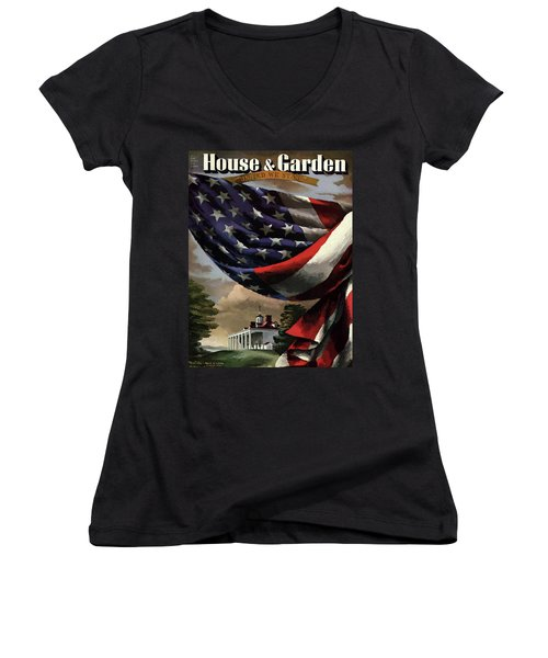 A House And Garden Cover Of An American Flag Women's V-Neck