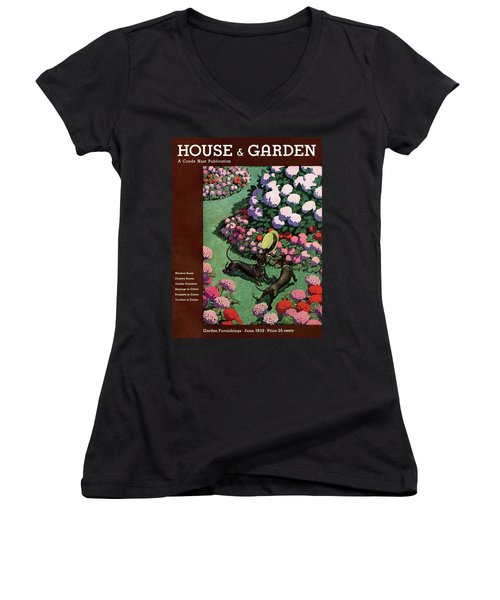A House And Garden Cover Of Dachshunds With A Hat Women's V-Neck