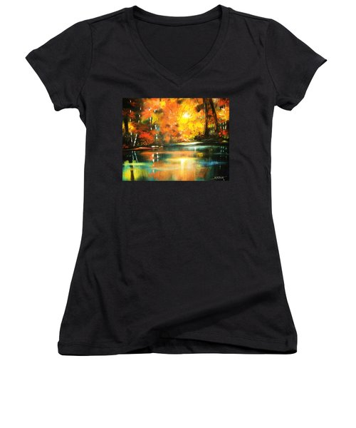 A Light In The Forest Women's V-Neck T-Shirt