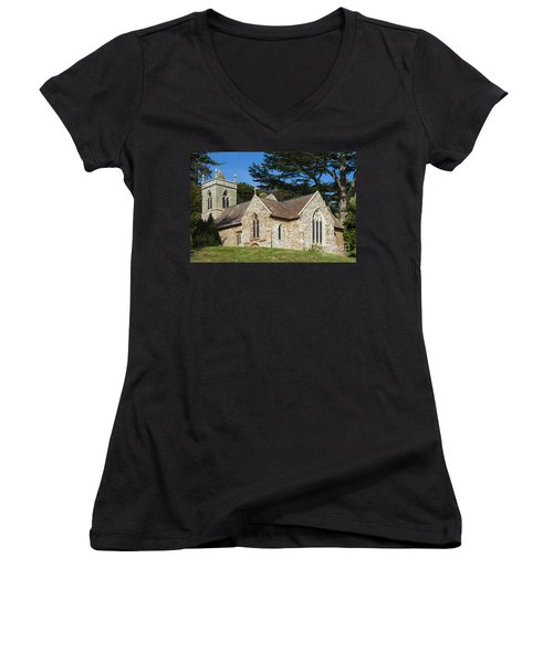 Women's V-Neck T-Shirt (Junior Cut) featuring the photograph A Little Church In Warwickshire by Linsey Williams