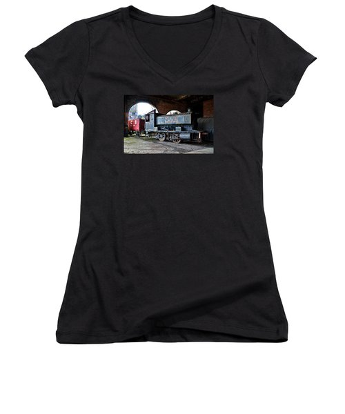 A Locomotive At The Colliery Women's V-Neck T-Shirt (Junior Cut) by RicardMN Photography