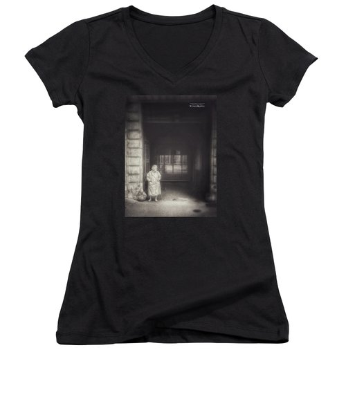 Women's V-Neck featuring the photograph A Long Boring Wait... by Stwayne Keubrick