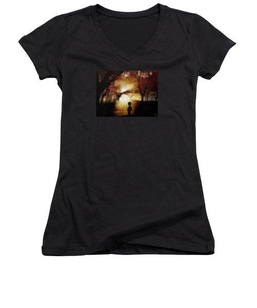 A Moment Beyond Time Women's V-Neck T-Shirt (Junior Cut) by Gun Legler