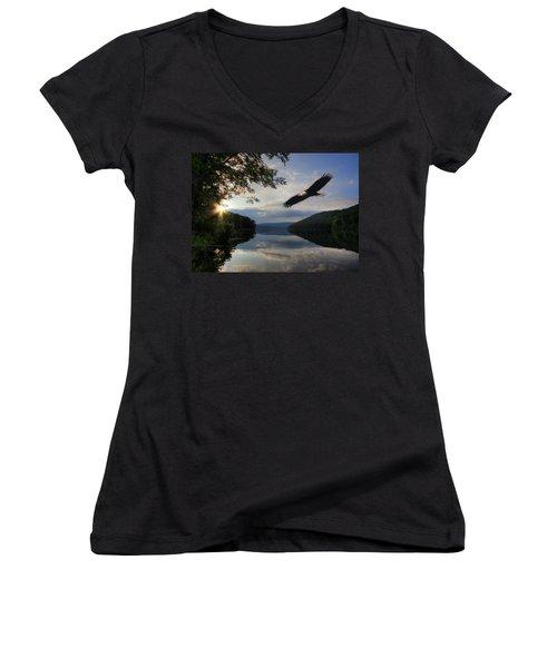 A New Beginning Women's V-Neck T-Shirt (Junior Cut) by Lori Deiter