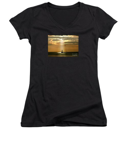 Roker Pier Sunderland Women's V-Neck T-Shirt (Junior Cut) by Morag Bates