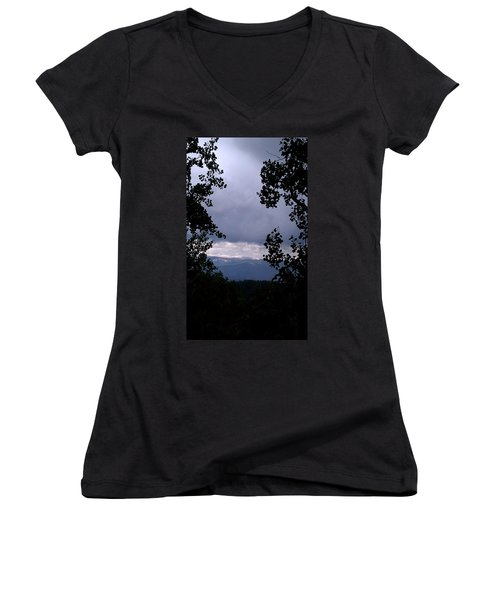 Women's V-Neck T-Shirt (Junior Cut) featuring the photograph A Peek At Heaven by Fortunate Findings Shirley Dickerson