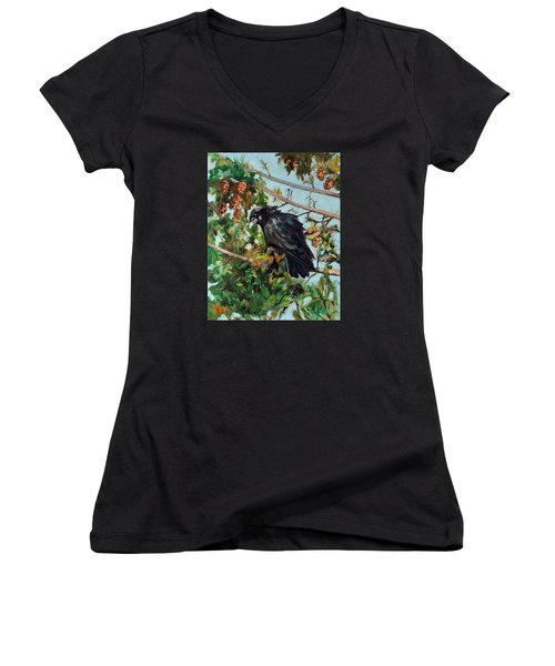 A Perch For Nevermore Women's V-Neck T-Shirt (Junior Cut) by Pattie Wall