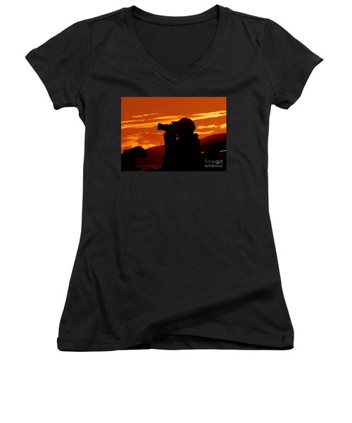 Women's V-Neck T-Shirt (Junior Cut) featuring the photograph A Photographer Enjoying His Work by Kathy Baccari