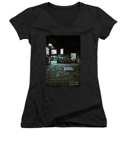 Women's V-Neck T-Shirt (Junior Cut) featuring the photograph A Place With Heart by Debra Fedchin