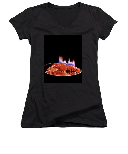 A Plate Of Lobster Flambe Women's V-Neck