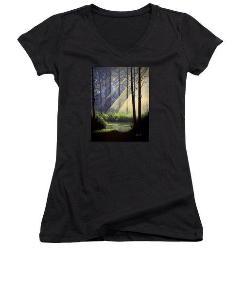 A Quiet Place Women's V-Neck T-Shirt (Junior Cut) by Jack Malloch