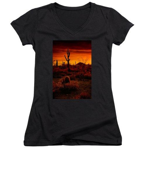 A Red Desert  Women's V-Neck