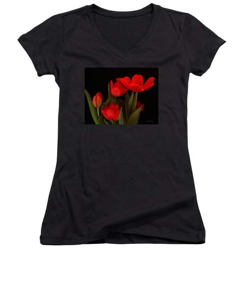 A Red Tulip Day Women's V-Neck (Athletic Fit)
