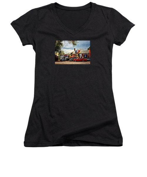 A Ride On Route 66 Women's V-Neck T-Shirt (Junior Cut) by Tricia Marchlik