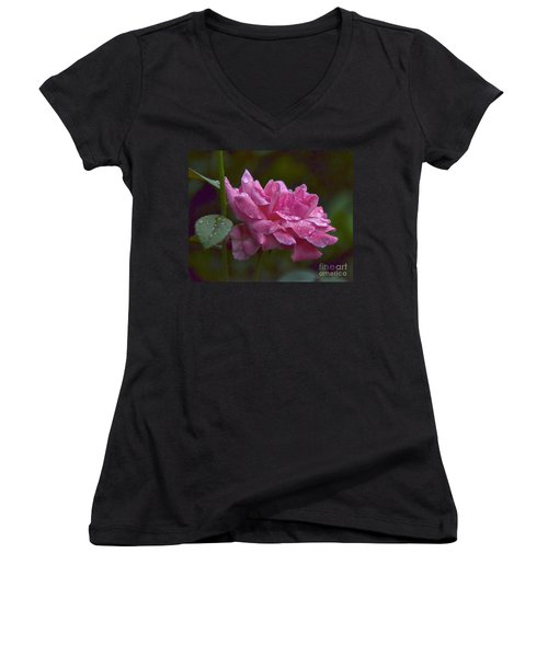 Women's V-Neck T-Shirt (Junior Cut) featuring the photograph A Rose Is A Rose by Carol  Bradley