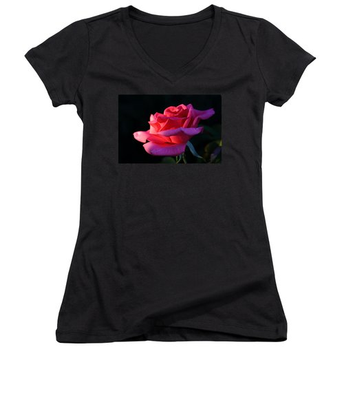 Women's V-Neck T-Shirt (Junior Cut) featuring the photograph A Rose Is A Rose by David Andersen