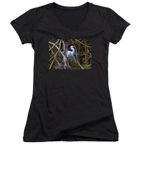 Women's V-Neck T-Shirt (Junior Cut) featuring the photograph A Season Of Love by Kathy Baccari