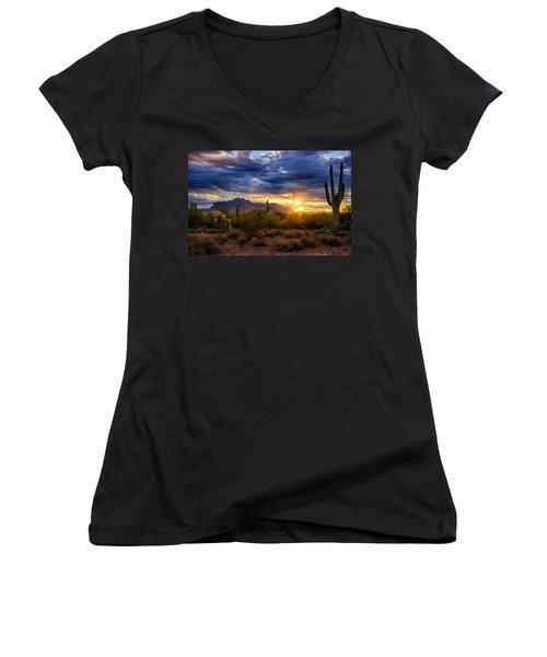 A Sonoran Desert Sunrise Women's V-Neck T-Shirt