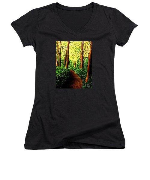 Women's V-Neck T-Shirt (Junior Cut) featuring the painting A Spiritual Awakening by Hazel Holland