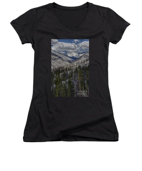 A Spring's Look To The Right On The Way Into Yellowstone Women's V-Neck T-Shirt