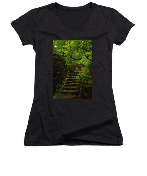 A Stairway To The Green Women's V-Neck (Athletic Fit)