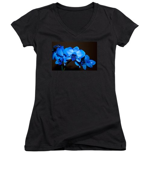 Women's V-Neck T-Shirt (Junior Cut) featuring the photograph A Stem Of Beautiful Blue Orchids by Sherry Hallemeier